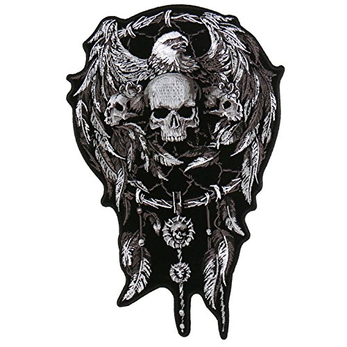 - Hot Leathers, SKULLS & DREAM CATCHER, High Thread Iron-On / Saw-On Rayon PATCH - 4