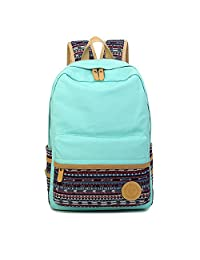 Artone Unisex Casual Daypack Stripes Canvas School Backpack With Laptop Compartment Stripe Aqua