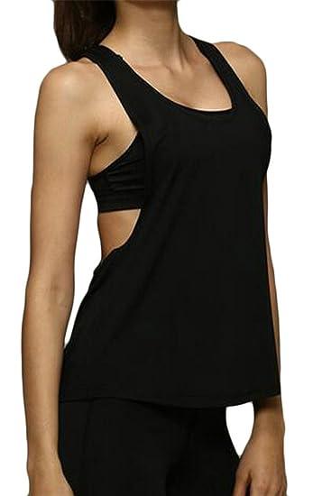 c7b4860168fe46 XXBlosom Women Running Sports Quick Dry Sleeveless Cover-up Tanks Tops  Black X-Small