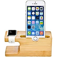 Apple Watch Stand, MOOZO Bamboo Wood Desktop Charging Dock Station Charger Holder Cradle Display for iPhone X 8 7 6 6S Plus 5S Samsung Galaxy S8 Plus S7 S6 Edge S5 iWatch 2 LG HTC Huawei Mobile Phones