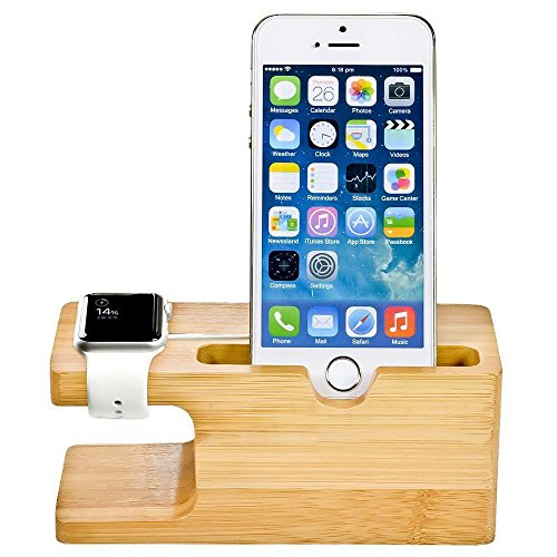 MOOZO Bamboo Wood Desktop Charging Dock Station Charger Holder Cradle Display Stand Compatible iPhone X 8 7 6 6S Plus Apple Watch 2 3 4 / iWatch Samsung Galaxy S8 Plus S7 S6 Edge LG Huawei Smartphone