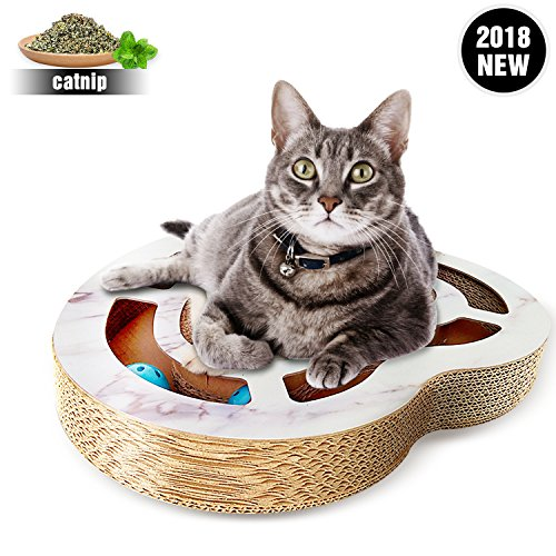 Heart-Shaped Cat Scratcher With Bell Balls,Deluxe Cardboard Cats Scratcher Lounge ,Cat Scratcher Bed As A Funny Toy,Completely New ()