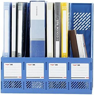 Datei Racks Dateikorb mit Vier Spalten Informationsrahmen Aufbewahrungsrahmenhalter aus Kunststoff mit Mehreren Schichten Datei-Halter-Desktop (Color : Blue)