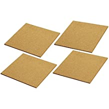 Cork Tile Boards -Frameless - Mini Wall Bulletin Boards - Natural - 4 Pack - 12 x 12 Inches