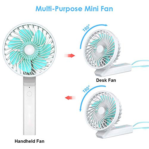 WINDFIRE Handheld Fan, Mini Desk Table Folding Fan, USB Rechargeable Battery Operated Electric Small Portable Personal Fan, for Office Household Camping Outdoor Sport Traveling Green-White