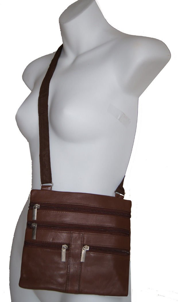 Light Brown Ladies Genuine Leather Cross Body Bag Satchel Messenger Bag 48'' Strap by Wallet (Image #1)