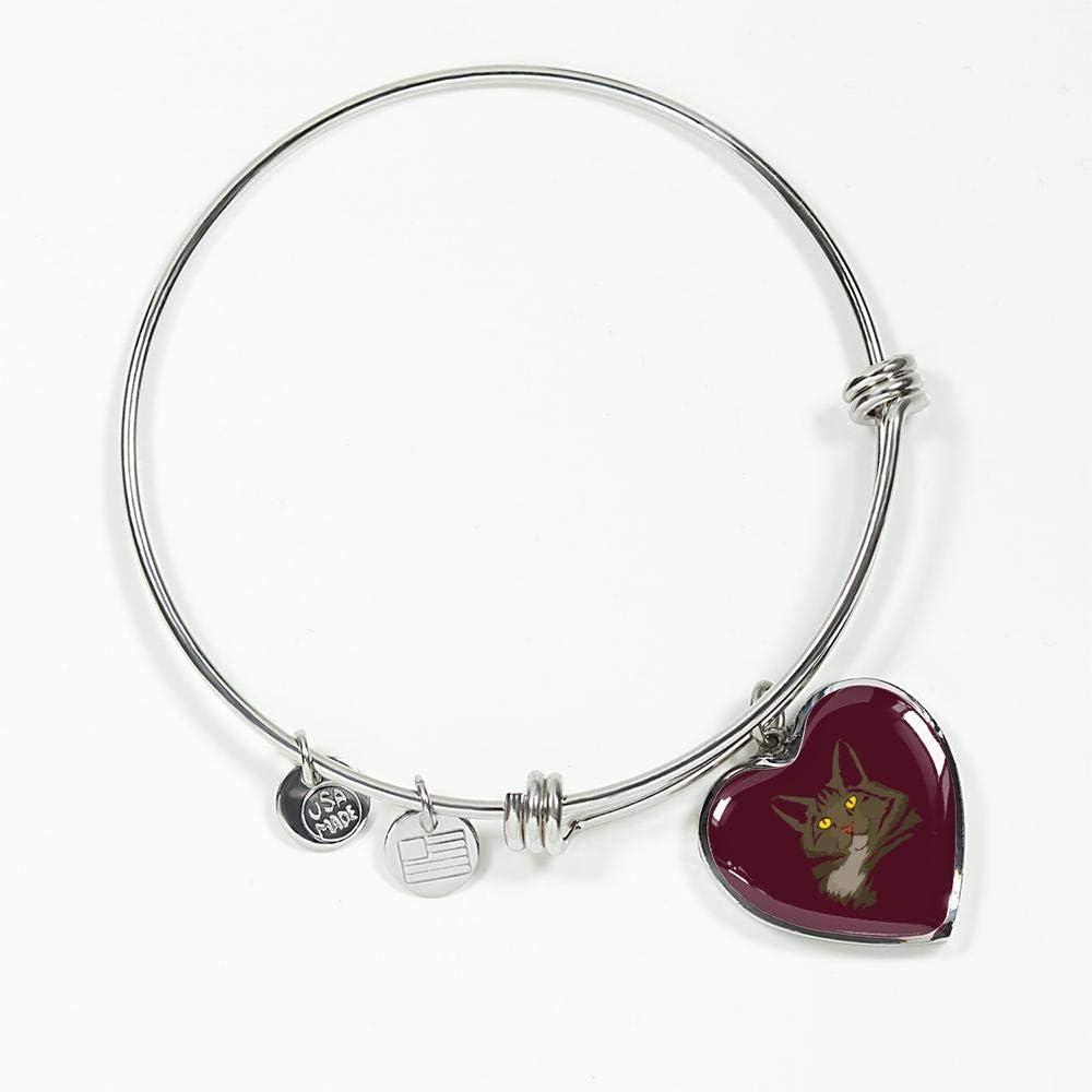American Bobtail Cat Womens Heart Pendant Bangle Bracelet Gifts for Cat Lovers 9182