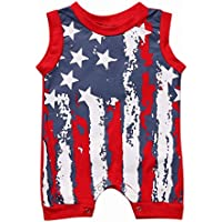 Gloous Newborn Infant Baby Boy Girl 4th Of July Stars and Stripes Romper Clothes Outfit