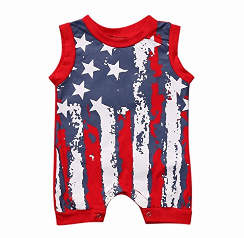 Gloous Newborn Infant Baby Boy Girl 4th Of July Stars and Stripes Romper Clothes Outfit (6M)