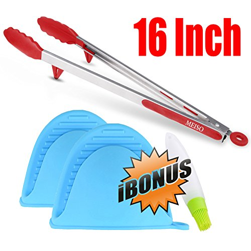 Meiso BBQ Tongs with Silicone Tips and Pot Holder, Heavy Duty and Non-Stick Grilling and Locking Head for Grill, Salad, Barbecue, (Locking Silicone)