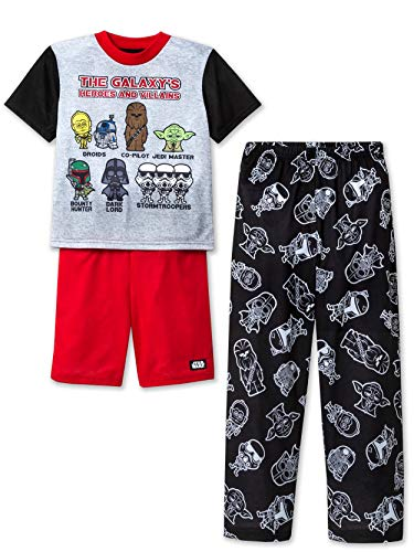 Star Wars Boy's 3 Piece Short Sleeve Shorts Pajamas Set (6, Black/Red) ()