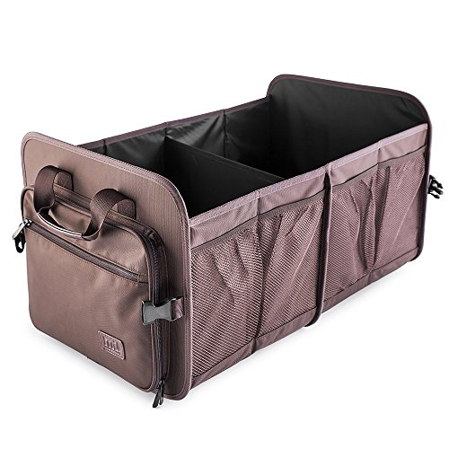 MIU COLOR Foldable Car Trunk Organizer Washable Automotive Waterproof Storage Box Suitable for SUV, Sienna Brown ()