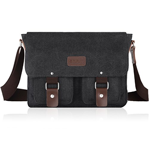 SMRITI 14-Inch Canvas Messenger Bag Laptop Satchel for School - Black ()
