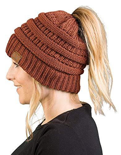 - BT-6020a-68 Messy Bun Womens Winter Knit Hat Beanie Tail - Rust