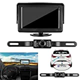 LeeKooLuu 7 LED Night Vision Rear View Backup Camera and Mirror Monitor Kit for Car/Vehicle/Truck Universal Waterproof License Plate, 4.3 Display, Distance Lines
