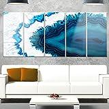 Designart MT14377-401 Blue Brazilian Geode - Abstract Canvas Metal Wall Art,Blue,60x28
