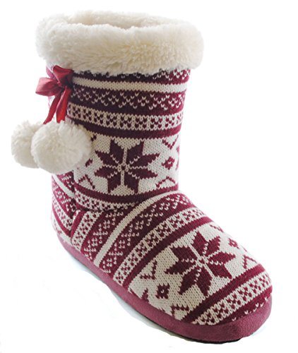 Boot Uwear Plum Fur Socks Faux Knitted Fairisle SlumberzzZ Womens Slippers 6nwq0TF