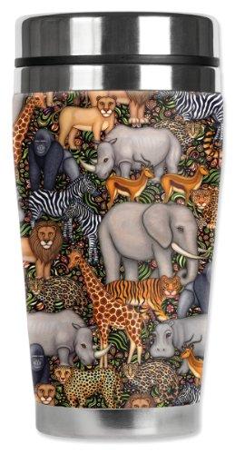 Mugzie Jungle Animals Travel Mug with Insulated Wetsuit Cover, 16 oz, Black