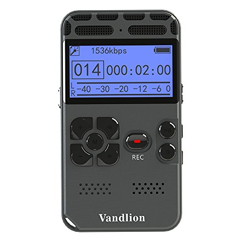 Digital Voice Recorder,Vandlion 8GB Sound Audio Recorder Dictaphone for Lectures Meetings, AGC Noise Reduction, Voice Activated PCM and MP3 Player,Double Microphone by Vandlion