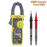 Tacklife CM02A Advanced 600 Amp Digital Clamp Meter TRMS 6000 Counts NCV with AC/DC Voltage Test Temperature Measure Auto-Ranging Multimeter - Ideal Father's Day Gift