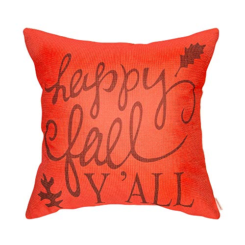Fahrendom Pumpkin Orange Happy Fall Yall Decoration Autumn Décor Harvest Thanksgiving Day Sign Cotton Linen Home Decorative Throw Pillow Case Cushion Cover for Sofa Couch 18 x 18 in