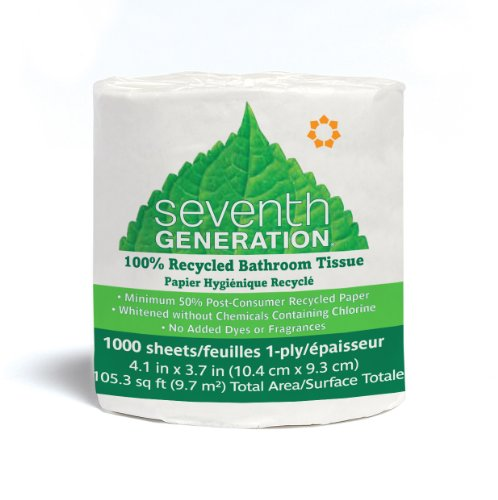 Seventh Generation Bathroom Tissue, 1-Ply Sheets, 1000 Sheet Roll (Pack of (One Ply Bathroom Tissue)