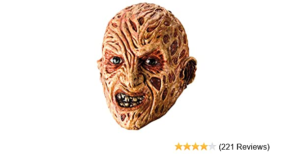 a0937e8eaf2 Amazon.com: Rubie's Costume A Nightmare On Elm Street Freddy Krueger Mask,  Red, One Size: Clothing