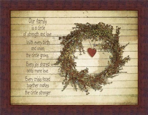 Our Family is a Circle of Strength and Love Country Quote Framed Art Print Jo Moulton - Moulton Art Print Poster