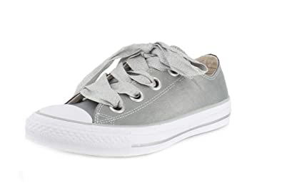 6ba7ec38548f Converse Womens Chuck Taylor All Star Big Eyelets-Ox Low-Top Metallic Silver  Sneaker