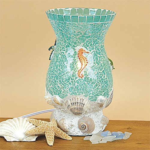 Aquamarine Shells Seahorse Mosaic Glass Desk Table Uplight 10.75 Inch (Shell Mosaic Table Lamp)