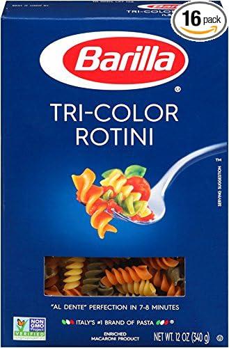 Barilla Tri-Color Rotini Pasta, 12 Ounce Boxes (Pack of 16)