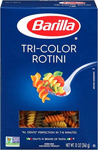 Barilla Tri-Color Pasta, Rotini, 12 Ounce (Pack of 16) Tricolore Pasta