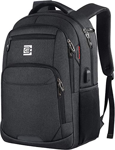 (Laptop Backpack,Business Travel Slim Durable Anti Theft Laptops Backpack with USB Charging Port,Water Resistant College Backpack for Women & Men Fits 15.6 Inch Laptop and Notebook - Black)