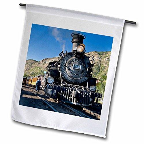 Photo Train Real Railroad (3dRose Danita Delimont - Trains - Durango and Silverton narrow guage Railroad, Trains - US06 LKL0010 - Lee Klopfer - 12 x 18 inch Garden Flag (fl_88941_1))
