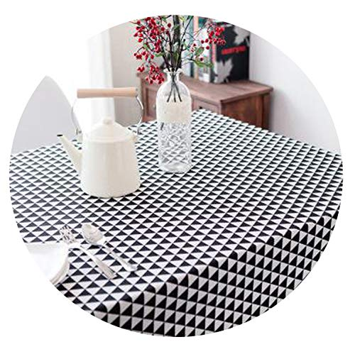 Table Cloth Linen Rural Square Tablecloths Rectangular Dinner Table Cover,Black Angle,90x140 cm ()