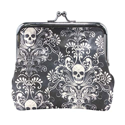Kiss-lock Gothic Skull Damask Scary Halloween Cute Coin Purse Wallet Portable Clutch bag -