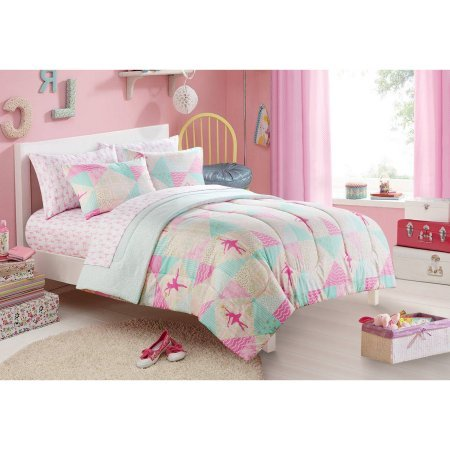 - Mainstays Kids Ballerina Bed in a Bag Bedding Set   100% Polyester Comforter (FULL)