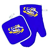 Oven Mitt and Pot Holder Set - Barbeque BBQ Kitchen Backyard Outdoors - NCAA - LSU Tigers