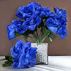 Efavormart 84 Artificial Open Roses for DIY Wedding Bouquets Centerpieces Arrangements Party Home Wholesale Supplies - Royal Blue