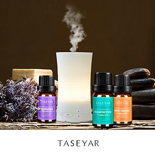 Essential Oils Set of 8,TASEYAR Therapeutic Grade 100% Pure Aromatherapy Scented Oil Gift Set(Frankincense,Lavender,Eucalyptus,Lemongrass,Peppermint,Sweet Orange,Tea Tree,Rosemary),10ml/Each