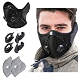 KINGBIKE Dust Mask with Windproof Ear Muff with Extra Filter- Activated Carbon Respirator with Filter Filtration Cotton Sheet Valves Exhaust Gas Anti Pollen Allergy PM2.5 N95 N99