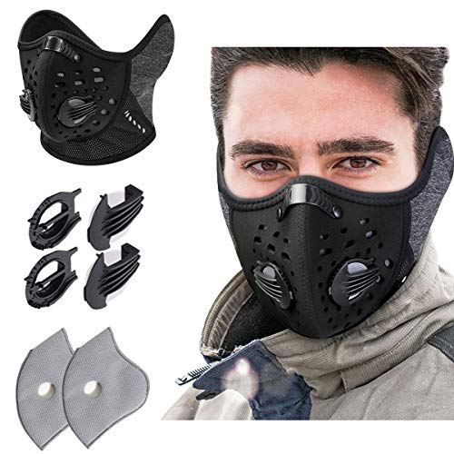 KINGBIKE Dust Mask with Windproof Ear Muff with Extra Filter- Activated Carbon Respirator with Filter Filtration Cotton Sheet Valves Exhaust Gas Anti Pollen Allergy PM2.5 N95 N99 (Pecan Solid)