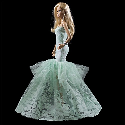 - Green Multitextured Lace Strapless Gown Green Dress Fits for Barbie Doll