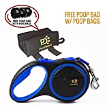 Retractable Dog Leash + Poop Bag Holder + Roll Of Poop Bag (3 Colors Choice) | Comfortable Leash For Walking Small, Medium & Large Dogs | Secure, Tangle-Free, One Button Break & Lock Handle (Blue)