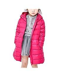 Bmeigo Child Girls Hooded Medium-long Overcoat Zipper Winter Down Jacket