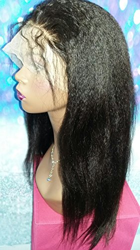 16 INCH HUMAN HAIR FULL LACE WIG KINKY STRAIGHT BRAZILIAN VIRGIN MEDIUM CAP by Angel Hair Haven