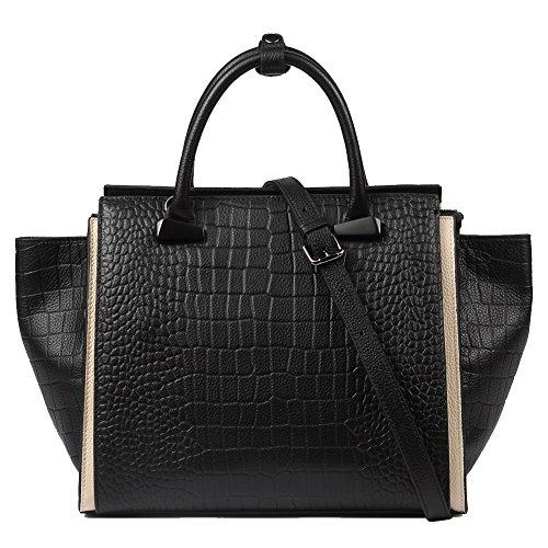 main femmes sacs grande sacs pour peau Sacs Noir les cartables Top Designer cuir de vache à Véritable poignée à de bandoulière en crocodile relief en capacité qAX1H1w8