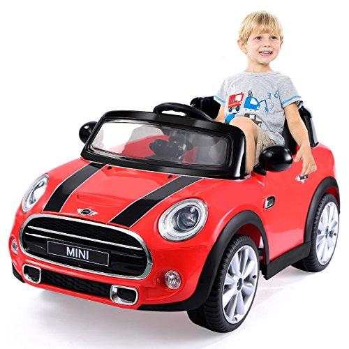 amazoncom costzon red bmw mini cooper 12v electric kids ride on car licensed mp3 rc remote control toys games