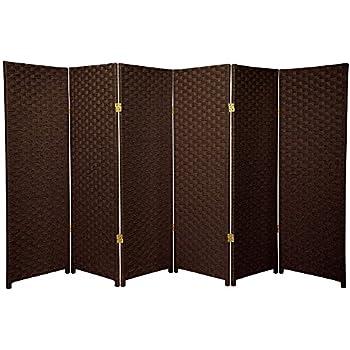 Oriental Furniture 4 Ft Tall Woven Fiber Room Divider Dark Mocha 6 Panel