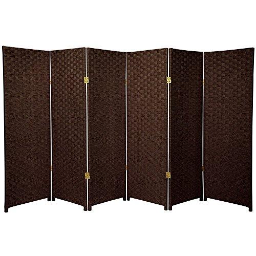 Image of Oriental Furniture 4 ft. Tall Woven Fiber Room Divider - Dark Mocha - 6 Panel